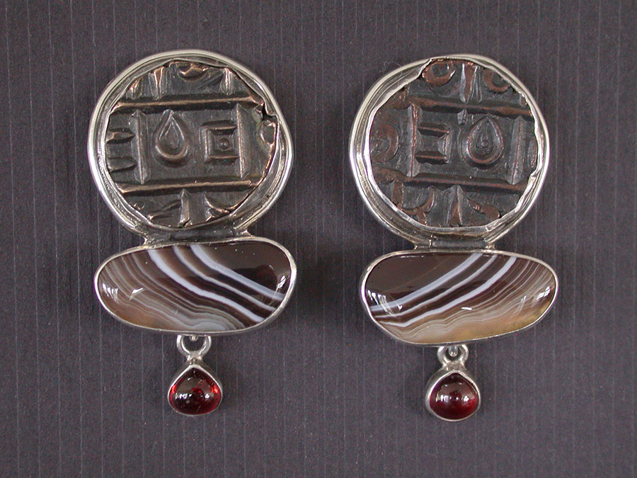 Amy Kahn Russell Online Trunk Show: Antique Coin, Botswana Agate & Garnet Clip Earrings | Rendezvous Gallery