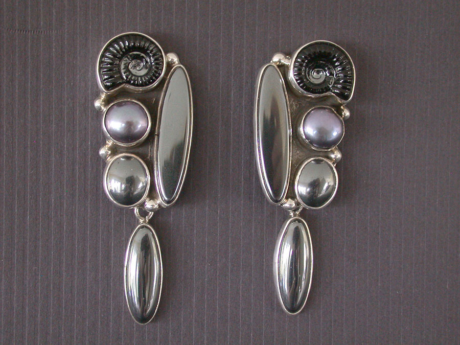 Amy Kahn Russell Online Trunk Show: Czech Glass, Freshwater Pearl & Hematite Post Earrings | Rendezvous Gallery