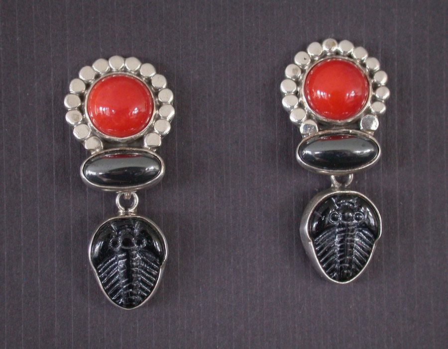 Amy Kahn Russell Online Trunk Show: Bamboo Coral, Hematite & Czech Glass Post Earrings | Rendezvous Gallery