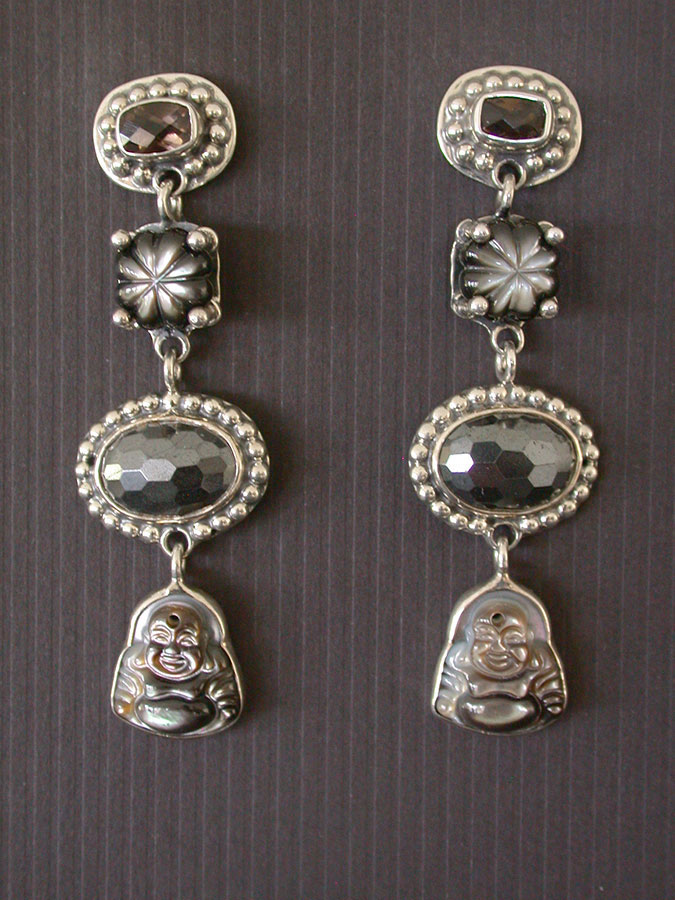 Amy Kahn Russell Online Trunk Show: Mother of Pearl, Smokey Quartz & Hematite Post Earrings  | Rendezvous Gallery
