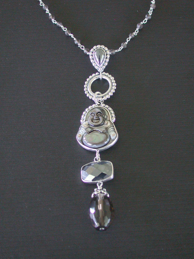 Amy Kahn Russell Online Trunk Show: Mother of Pearl, Hematite & Smokey Quartz Necklace | Rendezvous Gallery
