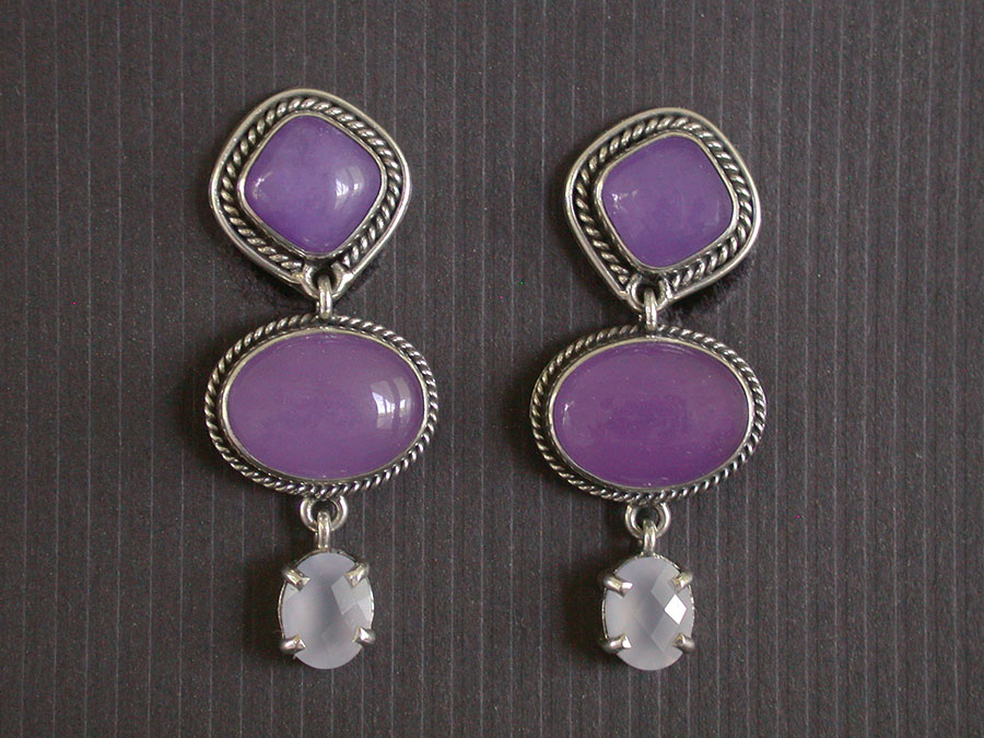 Amy Kahn Russell Online Trunk Show: Purple Quartz & Chalcedony Clip Earrings | Rendezvous Gallery