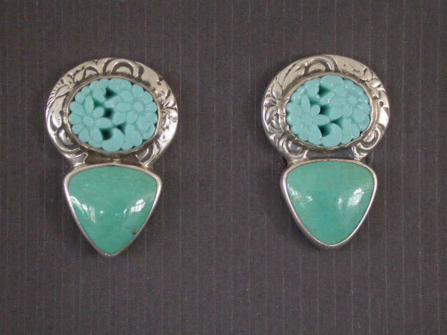 Amy Kahn Russell Online Trunk Show: Vintage Glass & Turquoise Clip Earrings | Rendezvous Gallery