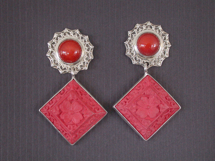 Amy Kahn Russell Online Trunk Show: Bamboo Coral & Carved Cinnabar Post Earrings | Rendezvous Gallery