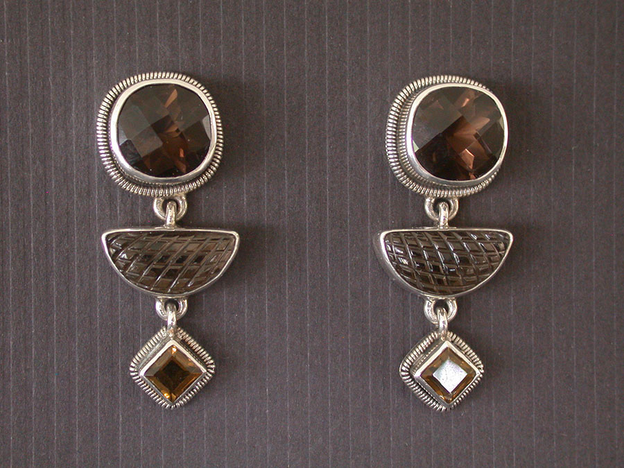 Amy Kahn Russell Online Trunk Show: Smokey Quartz & Whiskey Quartz Post Earrings | Rendezvous Gallery