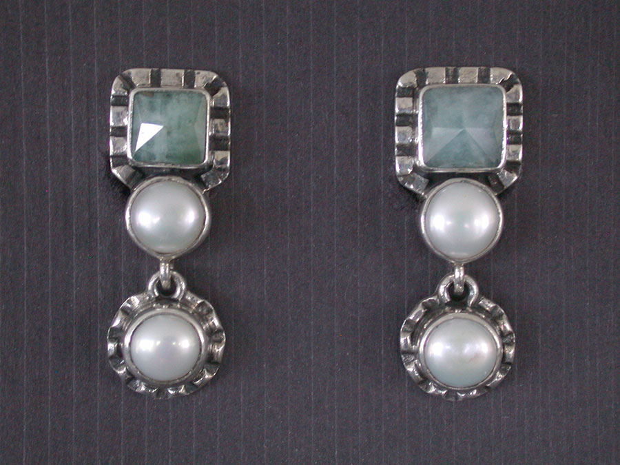 Amy Kahn Russell Online Trunk Show: Aquamarine & Freshwater Pearl Clip Earrings | Rendezvous Gallery