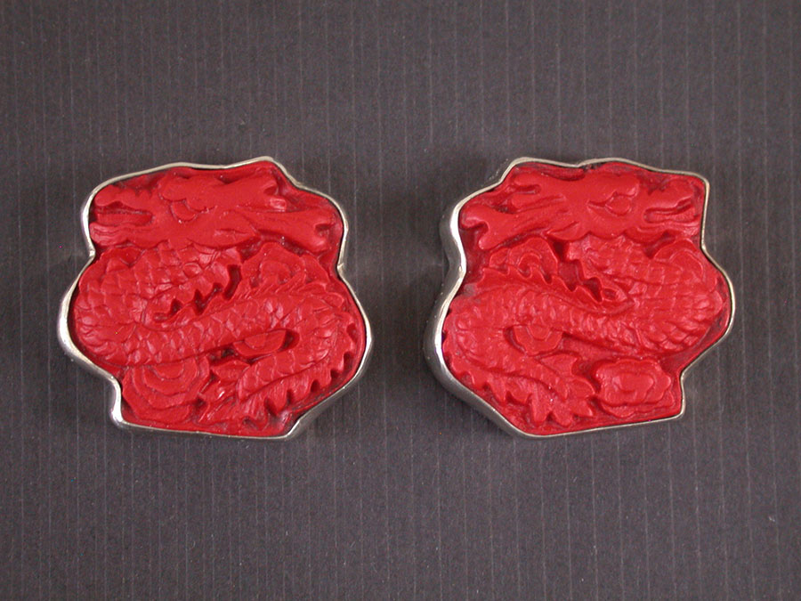 Amy Kahn Russell Online Trunk Show: Hand Carved Cinnabar Clip Earrings | Rendezvous Gallery