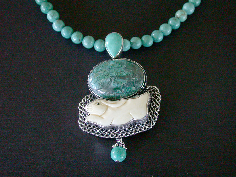 Amy Kahn Russell Online Trunk Show: Turquoise & Hand Carved Bone Necklace | Rendezvous Gallery