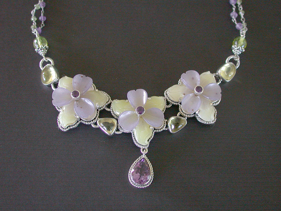 Amy Kahn Russell Online Trunk Show: Serpentine Jade, Lavender Quartz & Amethyst Necklace | Rendezvous Gallery