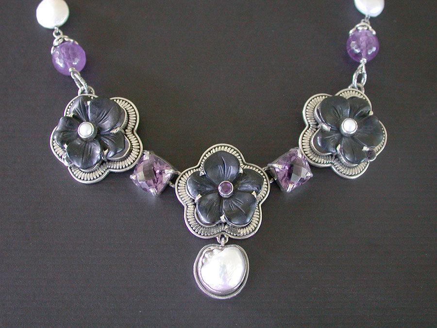 Amy Kahn Russell Online Trunk Show: Amethyst, Carved Jet & Freshwater Pearl Necklace | Rendezvous Gallery