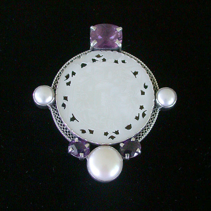 Amy Kahn Russell Online Trunk Show: Antique Mother of Pearl, Amethyst & Pearl Pin/Pendant | Rendezvous Gallery