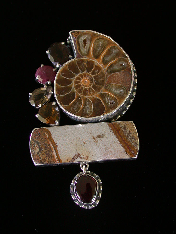 Amy Kahn Russell Online Trunk Show: Fossilized Ammonite, Jasper, Ruby, & Garnet Pin/Pendant | Rendezvous Gallery