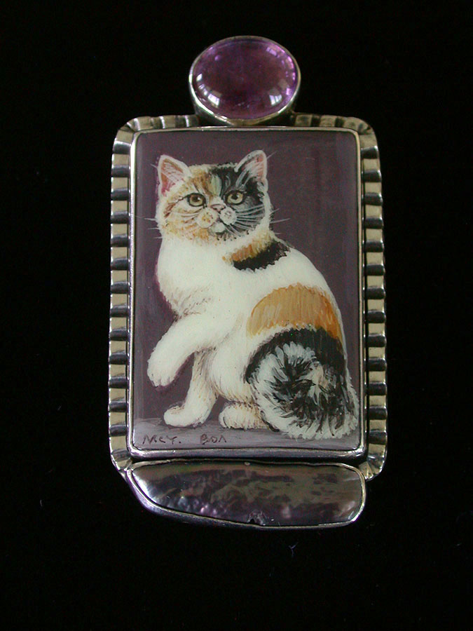 Amy Kahn Russell Online Trunk Show: Amethyst, Russian Hand Painting on Black Onyx & Pearl Pin/Pendant | Rendezvous Gallery