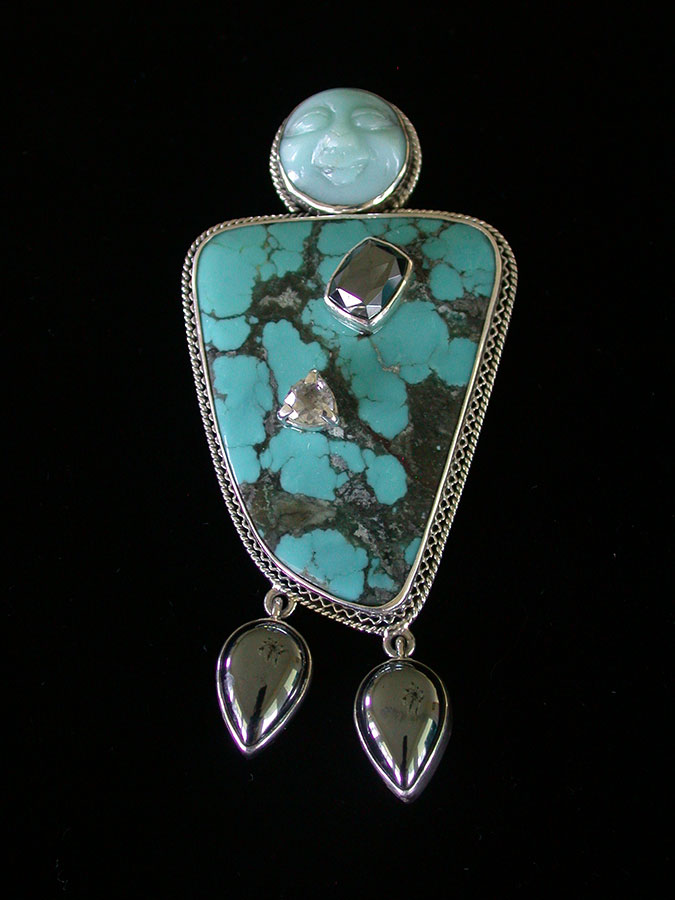 Amy Kahn Russell Online Trunk Show: Amazonite, Turquoise, Hematite & Crystal Pin/Pendant | Rendezvous Gallery