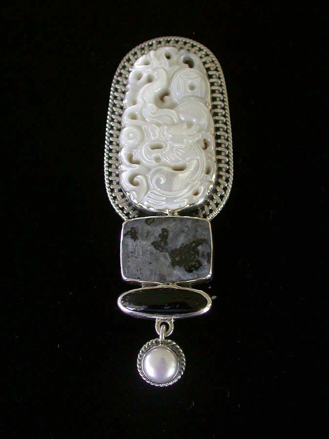 Amy Kahn Russell Online Trunk Show: Mother of Pearl, Norwegian Moonstone, Black Onyx Pin/Pendant | Rendezvous Gallery