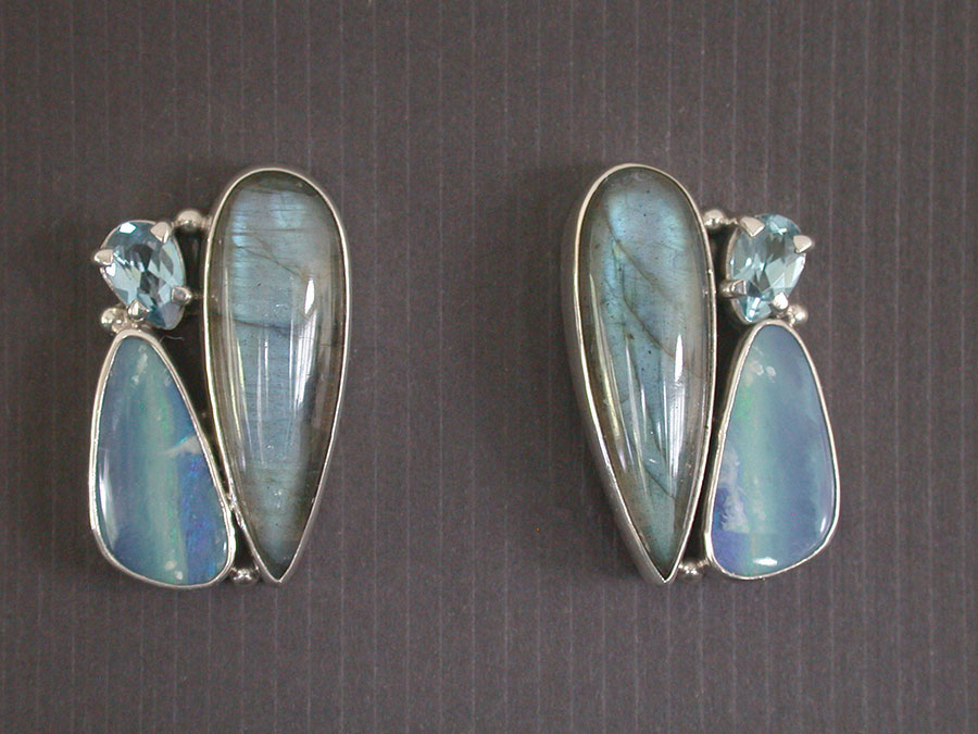 Amy Kahn Russell Online Trunk Show: Opal, Labradorite & Blue Topaz Post Earrings | Rendezvous Gallery