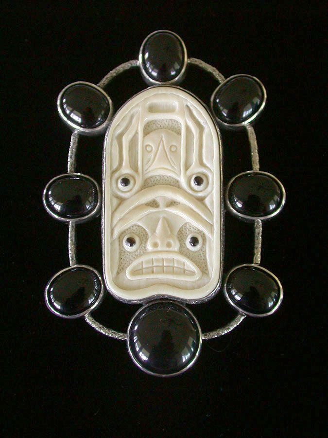 Amy Kahn Russell Online Trunk Show: Fossilized Mammoth Ivory & Black Onyx Pin/Pendant | Rendezvous Gallery