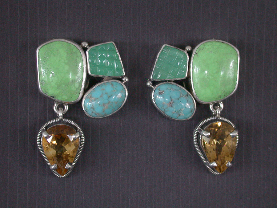 Amy Kahn Russell Online Trunk Show: Chrysoprase, Turquoise & Citrine Clip Earrings | Rendezvous Gallery