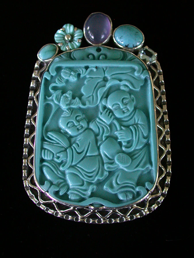 Amy Kahn Russell Online Trunk Show: Turquoise, Moonstone& Blue Topaz Pin/Pendant | Rendezvous Gallery