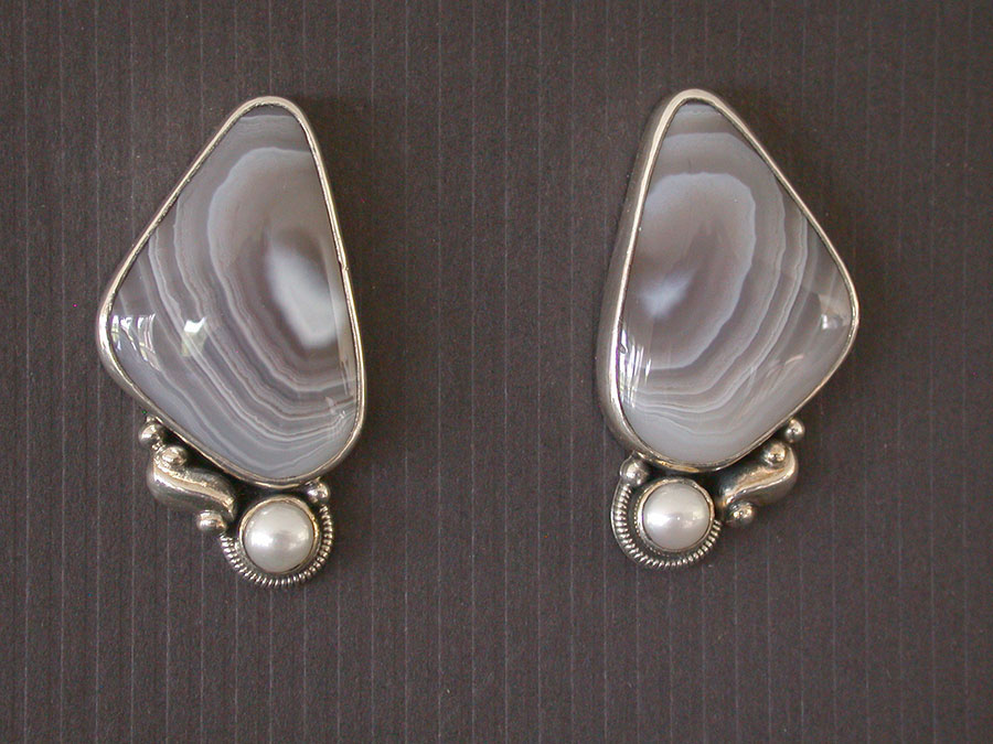 Amy Kahn Russell Online Trunk Show: Botswana Agate & Freshwater Pearl Post Earrings | Rendezvous Gallery