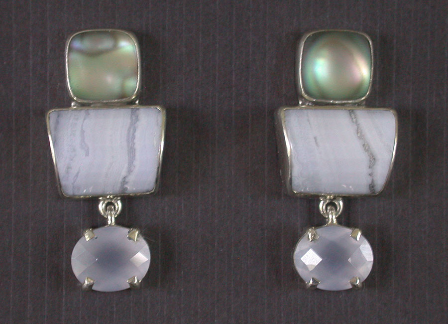 Amy Kahn Russell Online Trunk Show: Abalone in Quartz, Blue Lace Agate & Chalcedony Post Earrings | Rendezvous Gallery