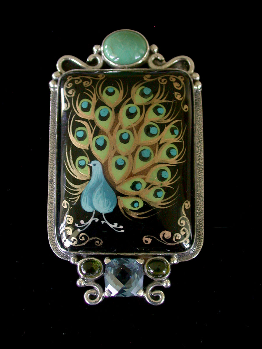 Amy Kahn Russell Online Trunk Show: Vesuvanite & Russian Hand Painting on Black Onyx Pin/Pendant | Rendezvous Gallery