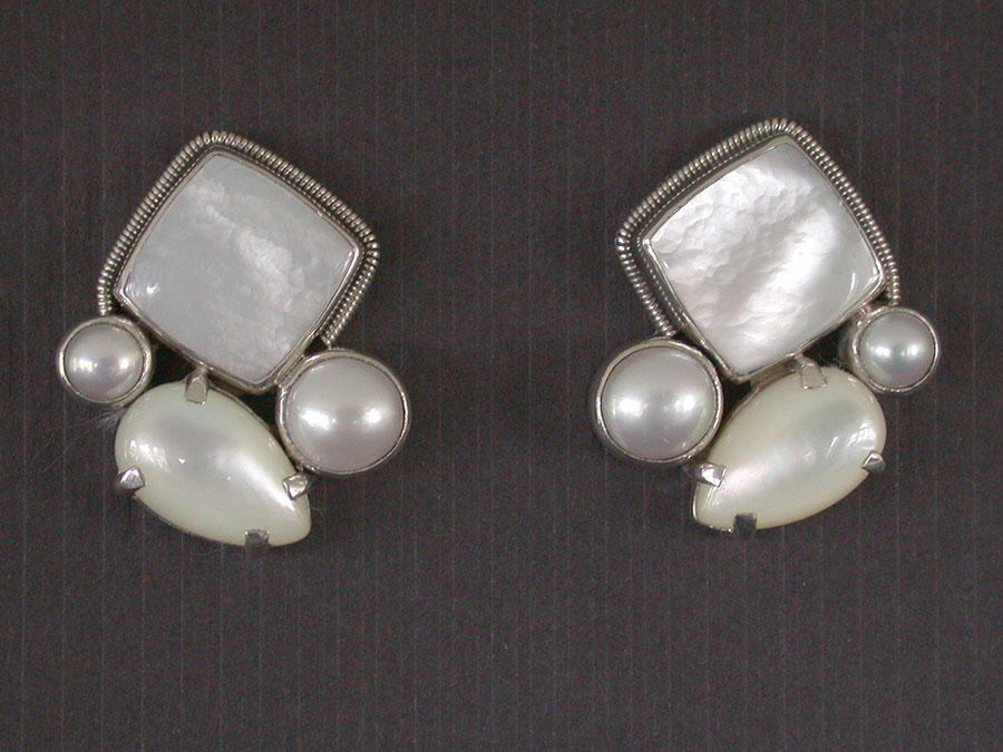 Amy Kahn Russell Online Trunk Show: Mother of Pearl & Freshwater Pearl Post Earrings | Rendezvous Gallery