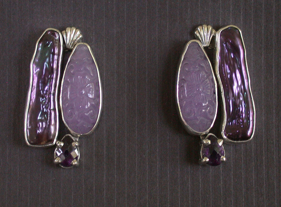 Amy Kahn Russell Online Trunk Show: Freshwater Pearl, Purple Quartz & Amethyst Post Earrings | Rendezvous Gallery