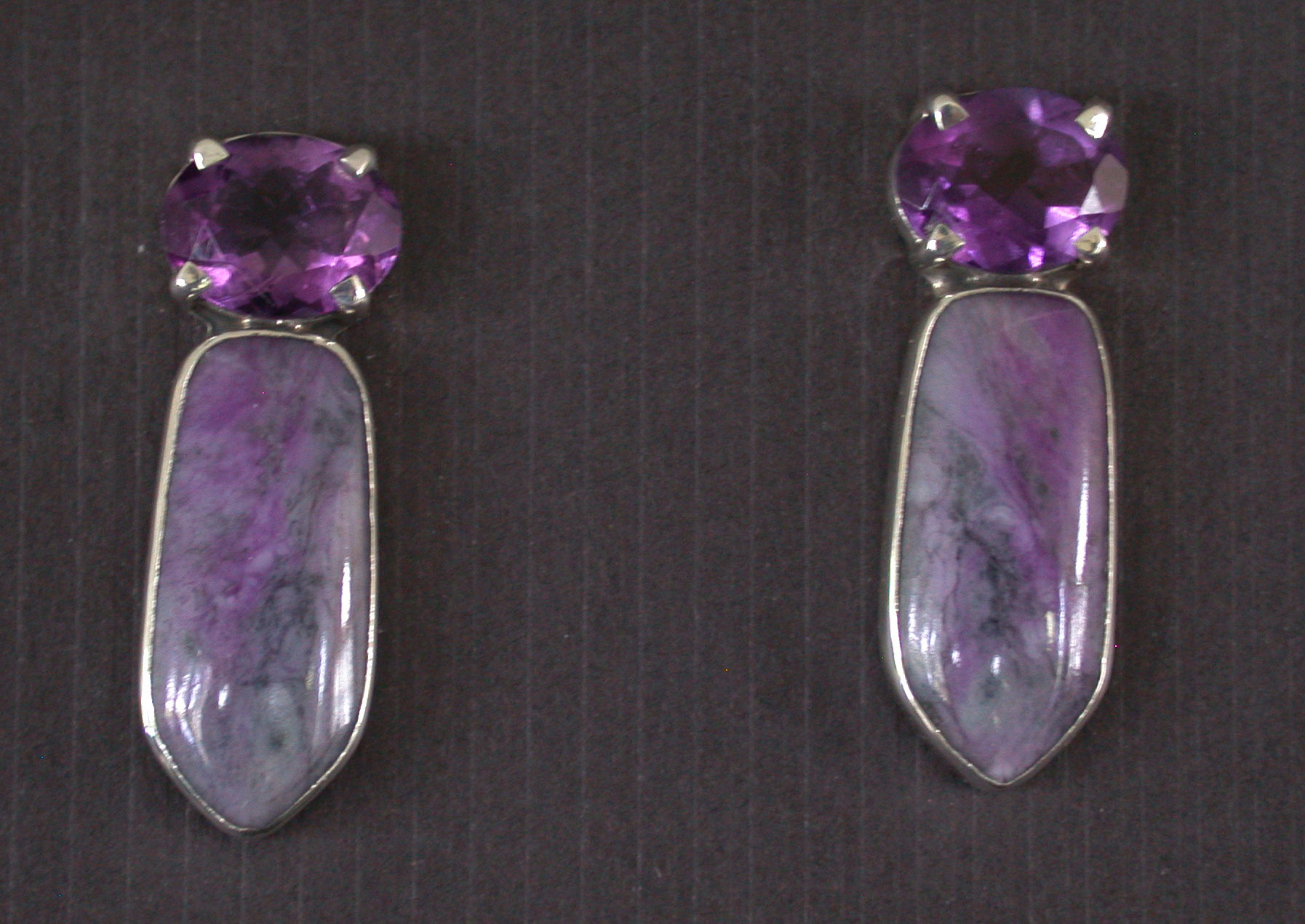 Amy Kahn Russell Online Trunk Show: Amethyst & Sugalite Post Earrings | Rendezvous Gallery