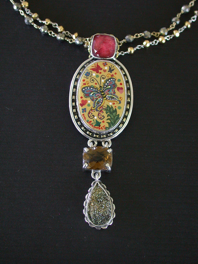 Amy Kahn Russell Online Trunk Show: Russian Hand Painting on Mother of Pearl Necklace | Rendezvous Gallery