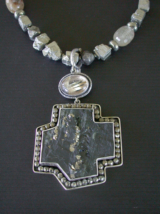 Amy Kahn Russell Online Trunk Show: Pyrite w/Slade, Rutilated Quartz & Chalco Pyrite Necklace | Rendezvous Gallery