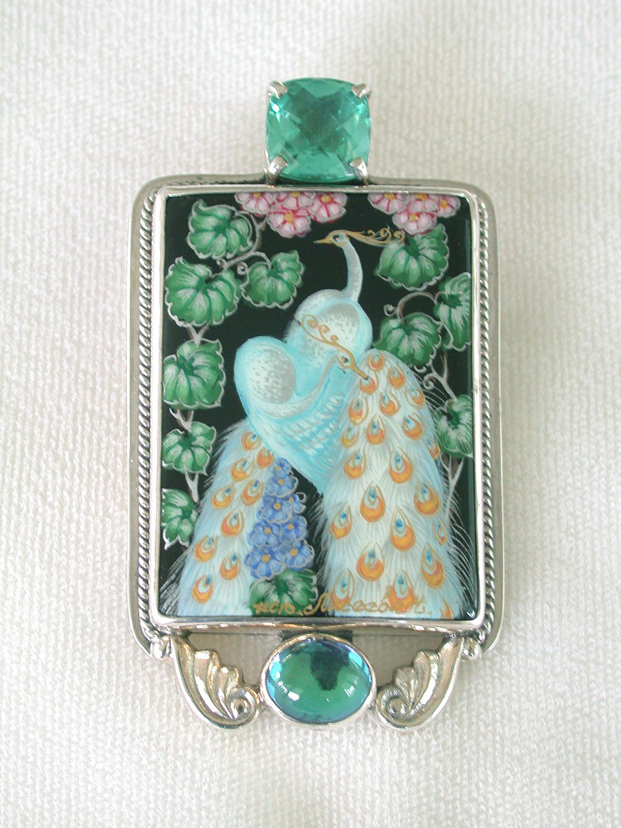 Amy Kahn Russell Online Trunk Show: Celestial Quartz & Russian Hand Painting on Black Onyx Pin/Pendant | Rendezvous Gallery