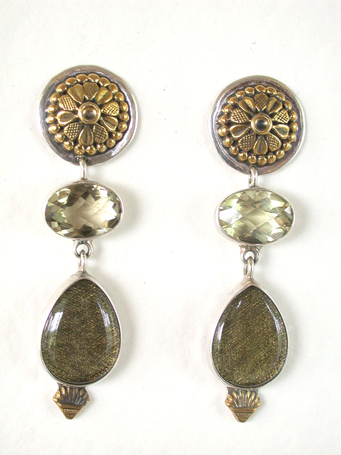 Amy Kahn Russell Online Trunk Show: Lemon Citrine & Tapestry in Quartz Clip Earrings | Rendezvous Gallery