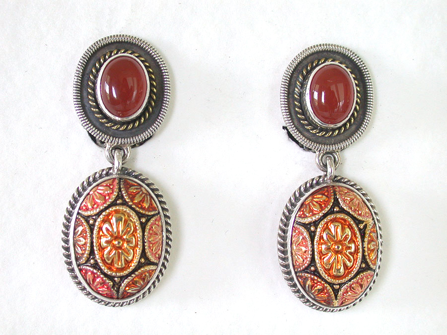 Amy Kahn Russell Online Trunk Show: Carnelian & Vintage Button Clip Earrings | Rendezvous Gallery