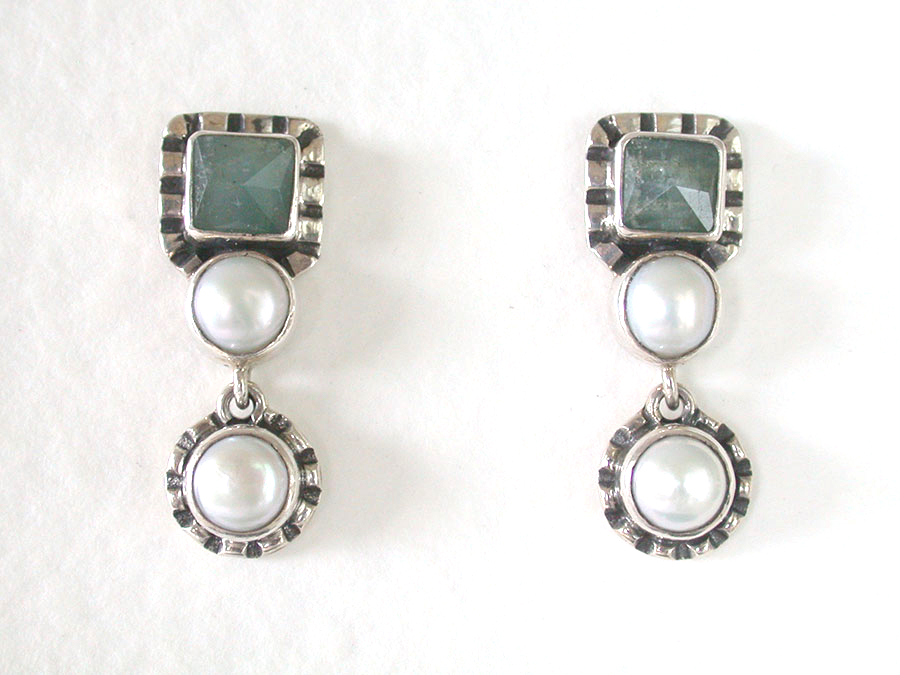 Amy Kahn Russell Online Trunk Show: Aquamarine & Freshwater Pearl Post Earrings | Rendezvous Gallery