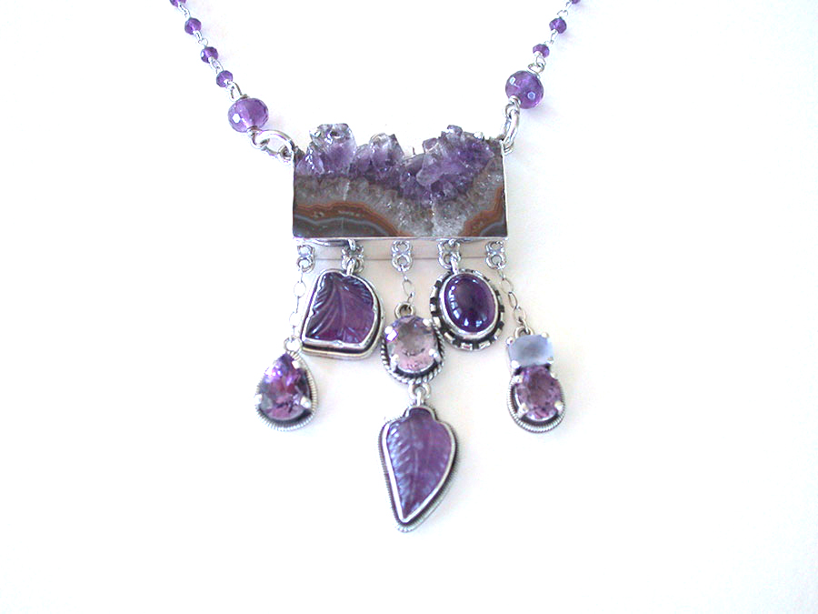 Amy Kahn Russell Online Trunk Show: Hand Carved Natural Amethyst Geode, Amethyst & Chalcedony Necklace | Rendezvous Gallery