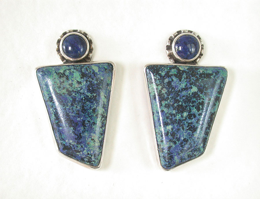 Amy Kahn Russell Online Trunk Show: Lapis Lazuli & Azurite Malachite Post Earrings | Rendezvous Gallery