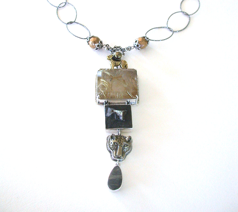 Amy Kahn Russell Online Trunk Show: Hand Carved Rutilated Quartz, Pyrite w/Slade & Brass Necklace | Rendezvous Gallery