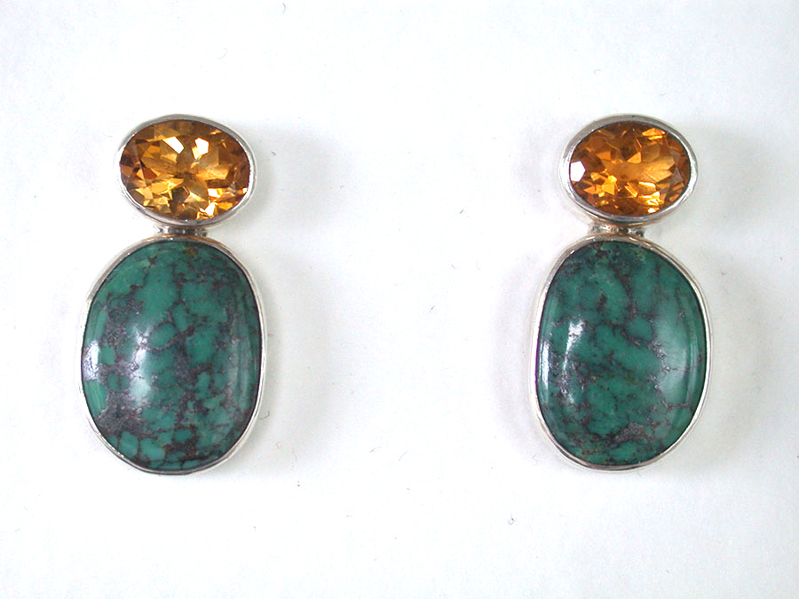 Amy Kahn Russell Online Trunk Show: Citrine & Turquoise Clip Earrings | Rendezvous Gallery