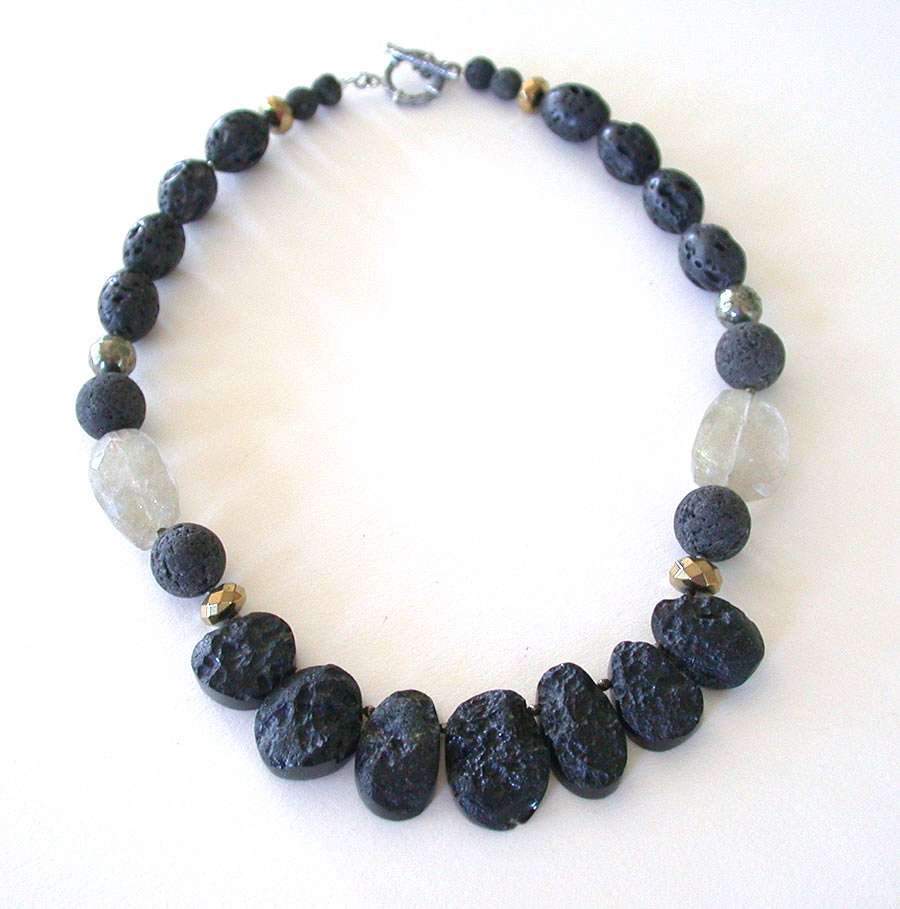 Amy Kahn Russell Online Trunk Show: Lava Stone, Rutilated Quartz & Hematite Necklace | Rendezvous Gallery