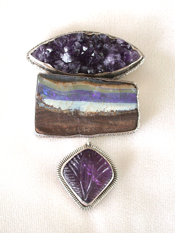 Amy Kahn Russell Online Trunk Show: Natural Amethyst, Boulder Opal & Carved Amethyst Pin/Pendant | Rendezvous Gallery