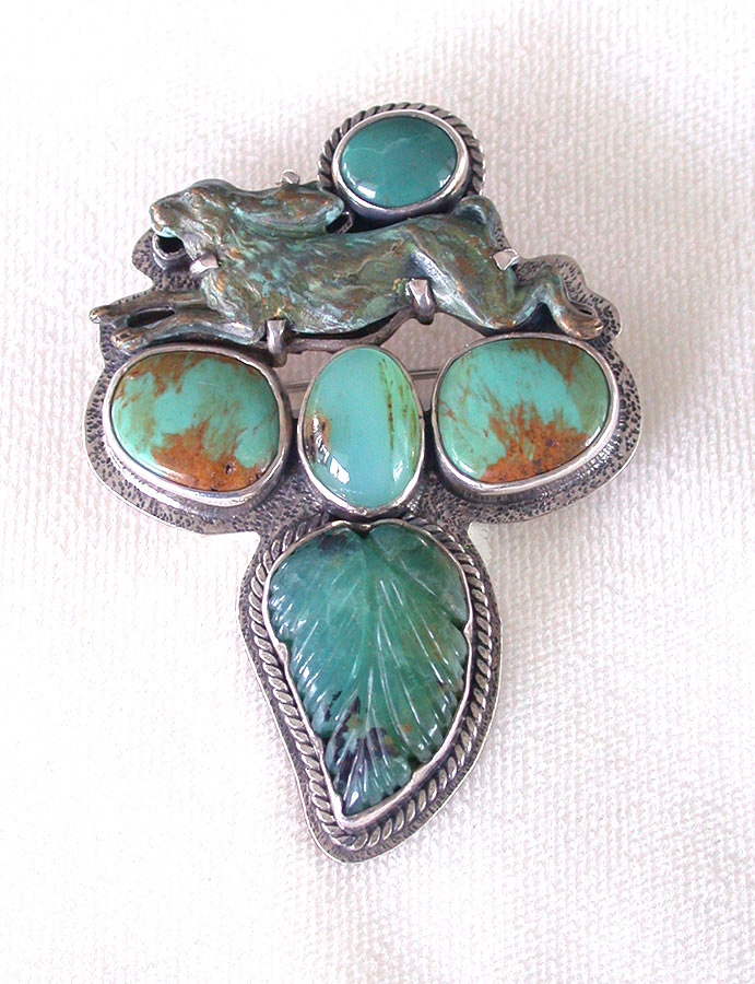 Amy Kahn Russell Online Trunk Show: Chrysoprase, Brass & Turquoise Pin/Pendant | Rendezvous Gallery