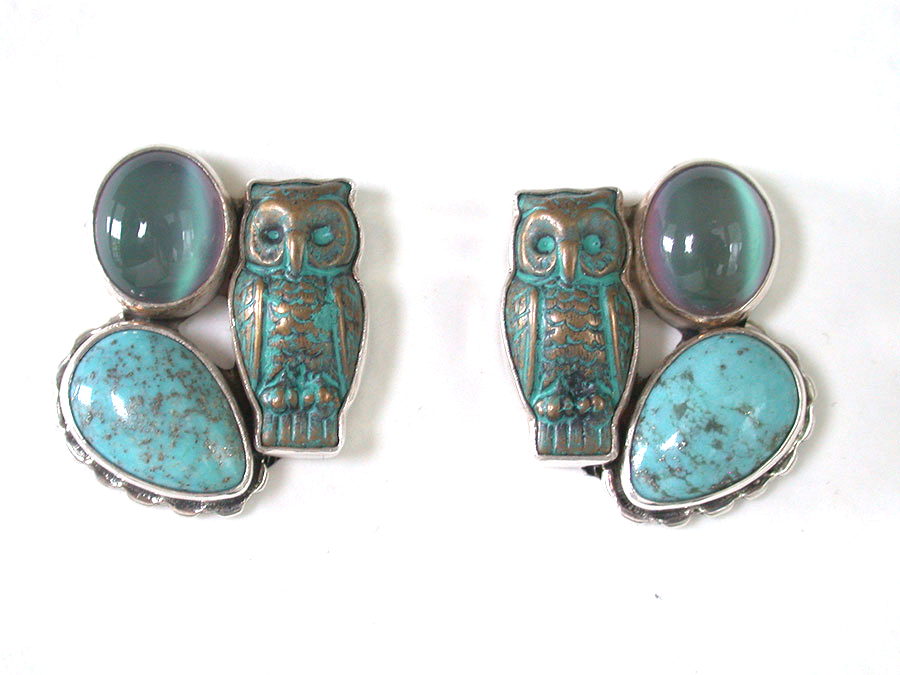 Amy Kahn Russell Online Trunk Show: Moonstone, Turquoise & Brass Clip Earrings | Rendezvous Gallery