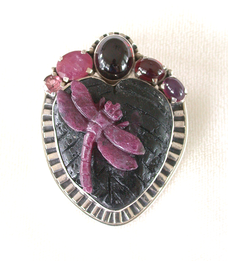 Amy Kahn Russell Online Trunk Show: Ruby, Garnet, Tourmaline & Ruby in Zoisite Pin/Pendant | Rendezvous Gallery