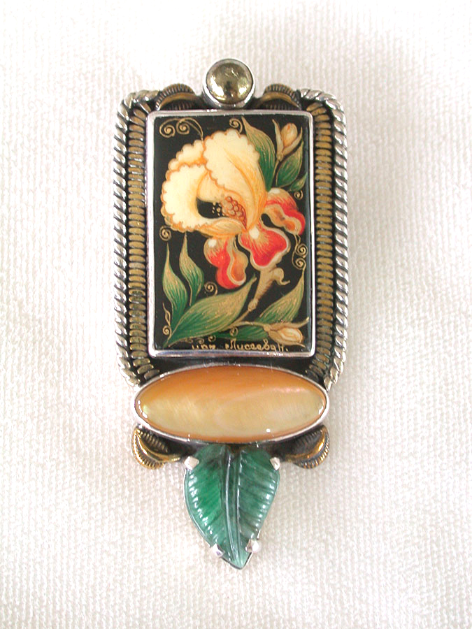 Amy Kahn Russell Online Trunk Show: Russian Hand Painting on Black Onyx, Mother of Pearl & Emerald Pin/Pendant | Rendezvous Gallery
