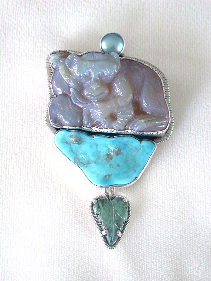 Amy Kahn Russell Online Trunk Show: Freshwater Pearl, Carved Opal & Turquoise Pin/Pendant | Rendezvous Gallery