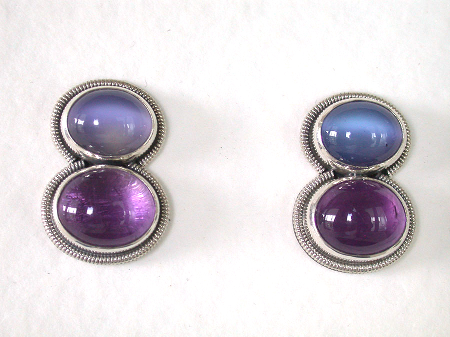 Amy Kahn Russell Online Trunk Show: Moonstone & Amethyst Clip Earrings | Rendezvous Gallery
