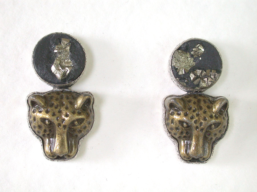 Amy Kahn Russell Online Trunk Show: Pyrite w/Slade & Brass Clip Earrings | Rendezvous Gallery