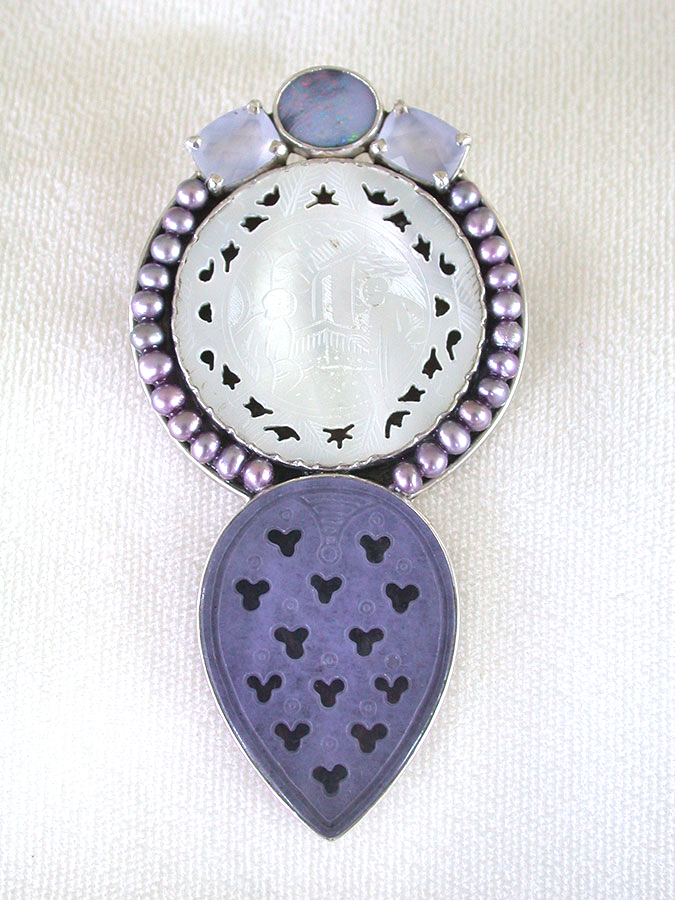 Amy Kahn Russell Online Trunk Show: Opal, Chalcedony, Mother of Pearl, Pearls & Purple Quartz Pin/Pendant | Rendezvous Gallery