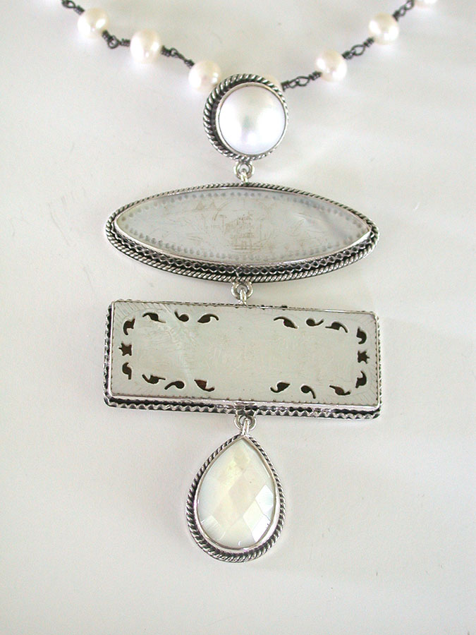 Amy Kahn Russell Online Trunk Show: Freshwater Pearl & Chinese Mother of Pearl Game Pieces Necklace | Rendezvous Gallery